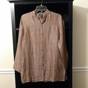 Eileen Fisher Silk/Linen Blouse Tunic P/S